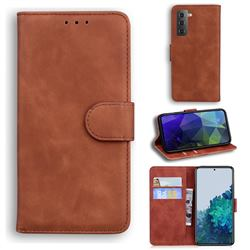 Retro Classic Skin Feel Leather Wallet Phone Case for Samsung Galaxy S21 / Galaxy S30 - Brown