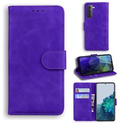 Retro Classic Skin Feel Leather Wallet Phone Case for Samsung Galaxy S21 / Galaxy S30 - Purple