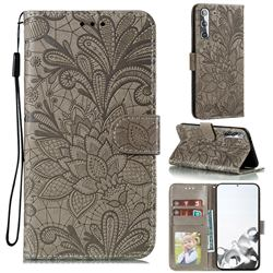 Intricate Embossing Lace Jasmine Flower Leather Wallet Case for Samsung Galaxy S21 / Galaxy S30 - Gray