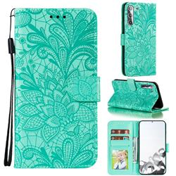 Intricate Embossing Lace Jasmine Flower Leather Wallet Case for Samsung Galaxy S21 / Galaxy S30 - Green