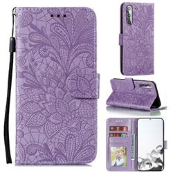 Intricate Embossing Lace Jasmine Flower Leather Wallet Case for Samsung Galaxy S21 / Galaxy S30 - Purple