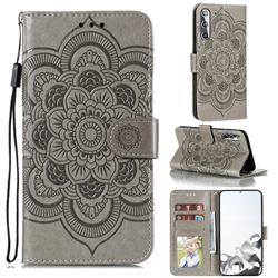 Intricate Embossing Datura Solar Leather Wallet Case for Samsung Galaxy S21 / Galaxy S30 - Gray
