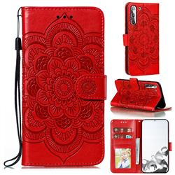 Intricate Embossing Datura Solar Leather Wallet Case for Samsung Galaxy S21 / Galaxy S30 - Red