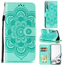Intricate Embossing Datura Solar Leather Wallet Case for Samsung Galaxy S21 / Galaxy S30 - Green