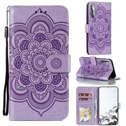 Intricate Embossing Datura Solar Leather Wallet Case for Samsung Galaxy S21 / Galaxy S30 - Purple