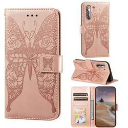 Intricate Embossing Rose Flower Butterfly Leather Wallet Case for Samsung Galaxy S21 / Galaxy S30 - Rose Gold