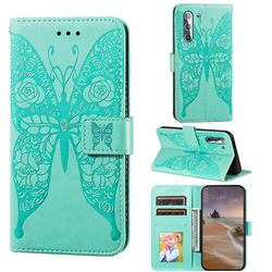 Intricate Embossing Rose Flower Butterfly Leather Wallet Case for Samsung Galaxy S21 / Galaxy S30 - Green