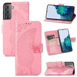 Embossing Mandala Flower Butterfly Leather Wallet Case for Samsung Galaxy S21 / Galaxy S30 - Pink
