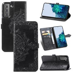 Embossing Imprint Mandala Flower Leather Wallet Case for Samsung Galaxy S21 / Galaxy S30 - Black