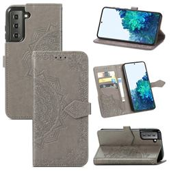 Embossing Imprint Mandala Flower Leather Wallet Case for Samsung Galaxy S21 / Galaxy S30 - Gray