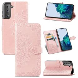 Embossing Imprint Mandala Flower Leather Wallet Case for Samsung Galaxy S21 / Galaxy S30 - Rose Gold