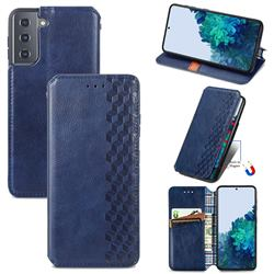 Ultra Slim Fashion Business Card Magnetic Automatic Suction Leather Flip Cover for Samsung Galaxy S21 / Galaxy S30 - Dark Blue