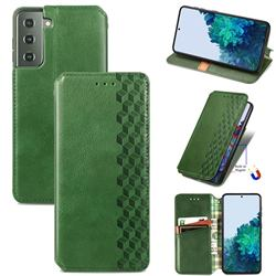 Ultra Slim Fashion Business Card Magnetic Automatic Suction Leather Flip Cover for Samsung Galaxy S21 / Galaxy S30 - Green