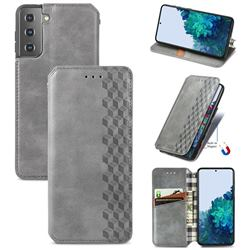 Ultra Slim Fashion Business Card Magnetic Automatic Suction Leather Flip Cover for Samsung Galaxy S21 / Galaxy S30 - Grey