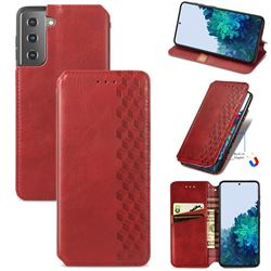 Ultra Slim Fashion Business Card Magnetic Automatic Suction Leather Flip Cover for Samsung Galaxy S21 / Galaxy S30 - Red