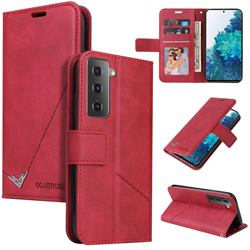 GQ.UTROBE Right Angle Silver Pendant Leather Wallet Phone Case for Samsung Galaxy S21 / Galaxy S30 - Red