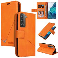 GQ.UTROBE Right Angle Silver Pendant Leather Wallet Phone Case for Samsung Galaxy S21 / Galaxy S30 - Orange