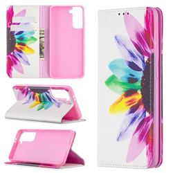 Sun Flower Slim Magnetic Attraction Wallet Flip Cover for Samsung Galaxy S21 / Galaxy S30