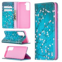 Plum Blossom Slim Magnetic Attraction Wallet Flip Cover for Samsung Galaxy S21 / Galaxy S30