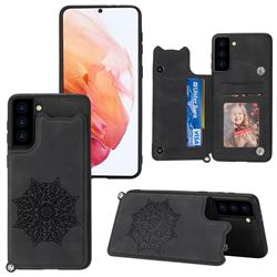 Luxury Mandala Multi-function Magnetic Card Slots Stand Leather Back Cover for Samsung Galaxy S21 - Black