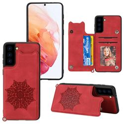 Luxury Mandala Multi-function Magnetic Card Slots Stand Leather Back Cover for Samsung Galaxy S21 - Red
