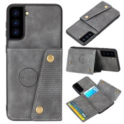 Retro Multifunction Card Slots Stand Leather Coated Phone Back Cover for Samsung Galaxy S21 - Gray
