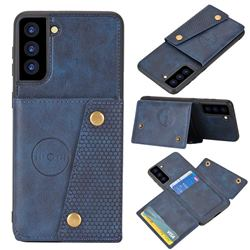 Retro Multifunction Card Slots Stand Leather Coated Phone Back Cover for Samsung Galaxy S21 - Blue