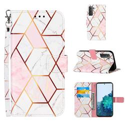Pink White Stitching Color Marble Leather Wallet Case for Samsung Galaxy S21
