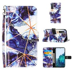 Starry Blue Stitching Color Marble Leather Wallet Case for Samsung Galaxy S21