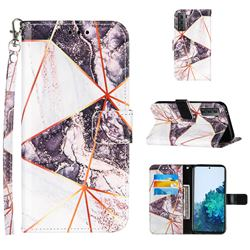 Black and White Stitching Color Marble Leather Wallet Case for Samsung Galaxy S21