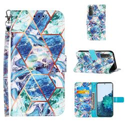 Green and Blue Stitching Color Marble Leather Wallet Case for Samsung Galaxy S21