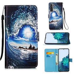 Waves and Sun Matte Leather Wallet Phone Case for Samsung Galaxy S21