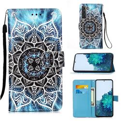 Underwater Mandala Matte Leather Wallet Phone Case for Samsung Galaxy S21