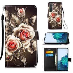 Black Rose Matte Leather Wallet Phone Case for Samsung Galaxy S21