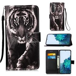 Black and White Tiger Matte Leather Wallet Phone Case for Samsung Galaxy S21