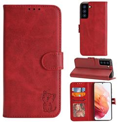 Embossing Happy Cat Leather Wallet Case for Samsung Galaxy S21 - Red