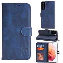Embossing Happy Cat Leather Wallet Case for Samsung Galaxy S21 - Blue