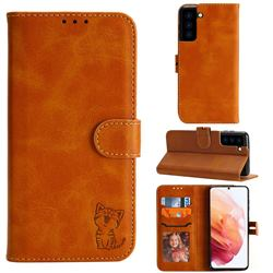 Embossing Happy Cat Leather Wallet Case for Samsung Galaxy S21 - Yellow