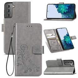 Embossing Imprint Four-Leaf Clover Leather Wallet Case for Samsung Galaxy S21 - Grey