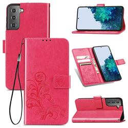 Embossing Imprint Four-Leaf Clover Leather Wallet Case for Samsung Galaxy S21 - Rose Red