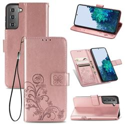 Embossing Imprint Four-Leaf Clover Leather Wallet Case for Samsung Galaxy S21 - Rose Gold