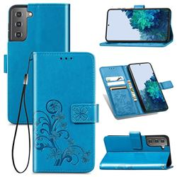 Embossing Imprint Four-Leaf Clover Leather Wallet Case for Samsung Galaxy S21 - Blue