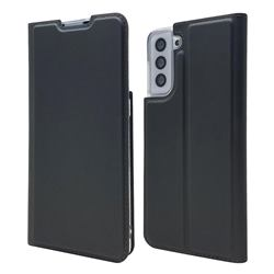 Ultra Slim Card Magnetic Automatic Suction Leather Wallet Case for Samsung Galaxy S21 - Star Grey