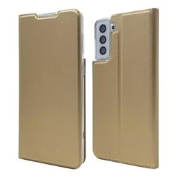Ultra Slim Card Magnetic Automatic Suction Leather Wallet Case for Samsung Galaxy S21 - Champagne