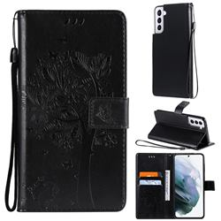 Embossing Butterfly Tree Leather Wallet Case for Samsung Galaxy S21 - Black