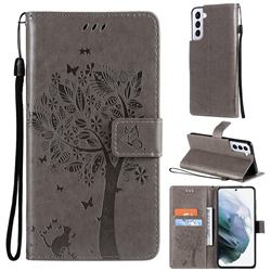 Embossing Butterfly Tree Leather Wallet Case for Samsung Galaxy S21 - Grey
