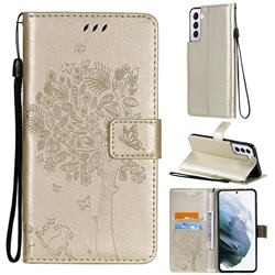 Embossing Butterfly Tree Leather Wallet Case for Samsung Galaxy S21 - Champagne