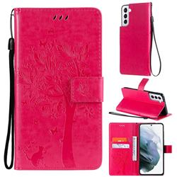 Embossing Butterfly Tree Leather Wallet Case for Samsung Galaxy S21 - Rose