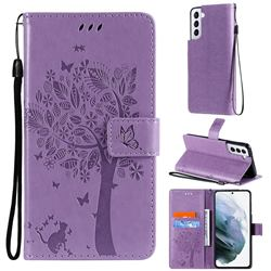 Embossing Butterfly Tree Leather Wallet Case for Samsung Galaxy S21 - Violet