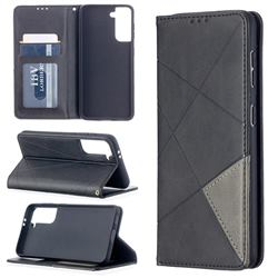 Prismatic Slim Magnetic Sucking Stitching Wallet Flip Cover for Samsung Galaxy S21 - Black